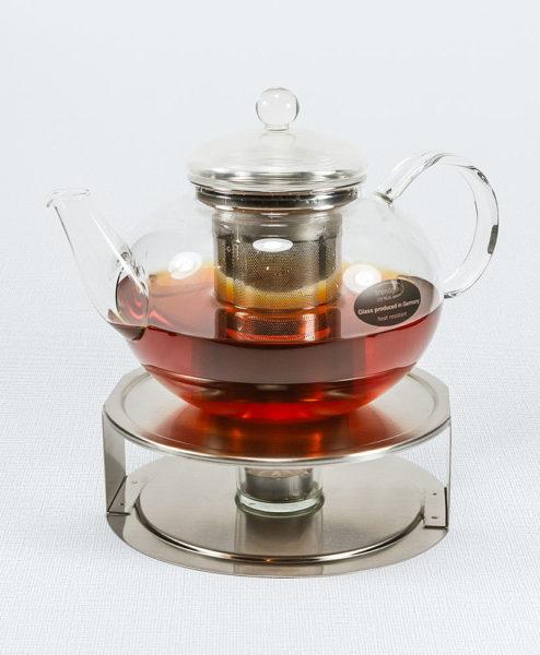 Teekanne Miko aus Glas mit Edelstahlfilter auf Edelstahlstövchen