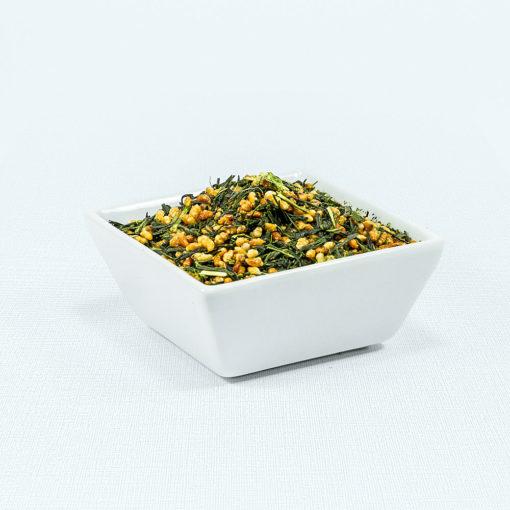 Grüner Tee Watanabe Genmaicha Bio mit Reis in weißer Schale