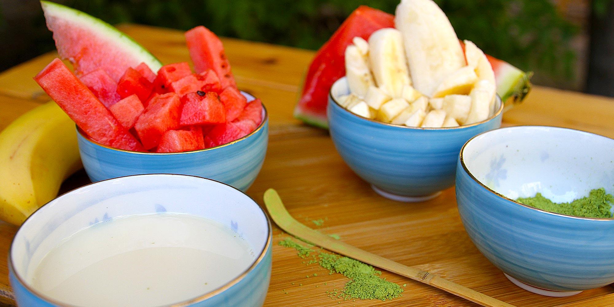 Zutaten für Fruity Matcha Latte Rezept