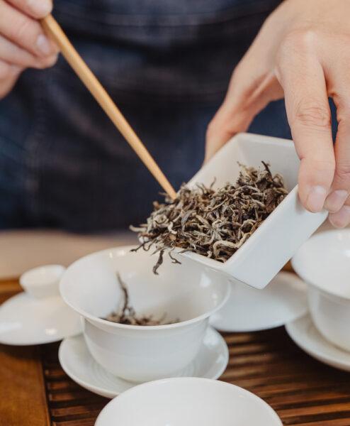 Tee wird in Gaiwan gefüllt